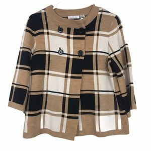 Luxe Plaid sweater brown black and white 4 button
